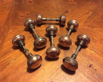 12 Antique Copper Doorknobs