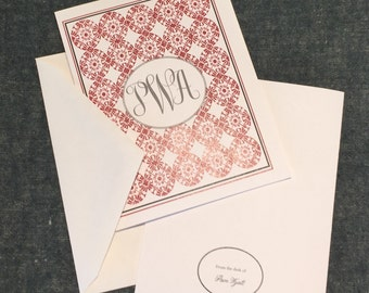 Monogrammed folded notecards - Custom printed