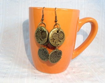 Steampunk earrings with gears and clock faces