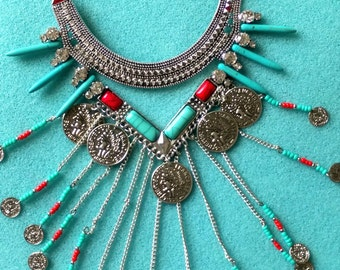 Coin Necklace, Silver, Boho, Disc, Statement, Gypsy, Turkish, Tribal, Turquoise, Ruby, BIB, Sterling, Ancient Roman