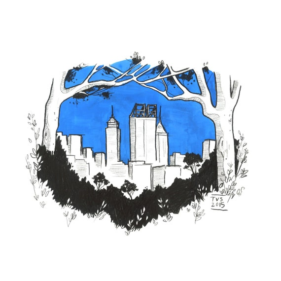 Day 13 Print: City gazing at Kings Park