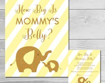 Baby Shower Game - Yellow - Gold Glitter Elephant - How Big is Mommy's Belly? - Instant Download Printable - Gender Neutral