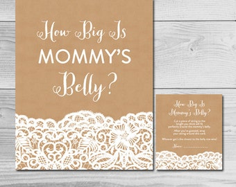 Kraft and Lace Rustic Baby Shower Game - How Big is Mommy's Belly? - Instant Download Printable - Baby Girl