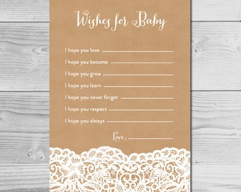 Kraft and Lace Rustic Baby Shower Activity - Wishes for Baby - Instant Download Printable - Baby Girl