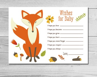Woodland Fox Baby Shower Activity - Wishes for Baby - Instant Download Printable - Gender Neutral