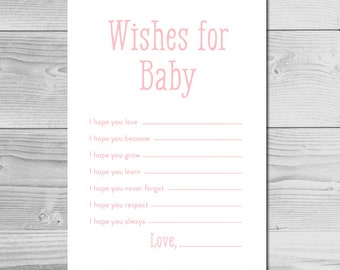 Simple Pink Baby Shower Activity - Wishes for Baby - Instant Download Printable - Baby Girl