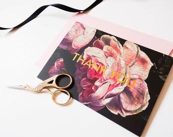 Luxury Vintage Floral Letterpress Gold Foil Thank You Card