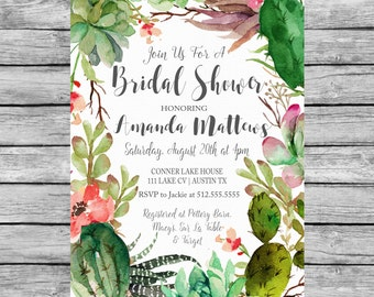 Bridal Shower Succulent Invitation Printable, Succulent Bridal Shower Invitation, Succulent Invitation