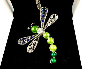 Dragonfly Necklace, Wire Wrapped Dragonfly Necklace with Swarovski Crystals, Dragonfly Pendant