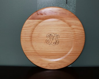 Monogrammed Wood Platter
