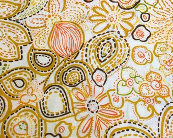 Mod Floral Fabric. 1/2 yd. Yellow Floral Fabric. Abstract Floral Fabric. Vintage Floral Fabric. Retro Fabric Floral Vintage Fabric.
