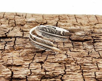 sterling silver feather ring adjustable L-R
