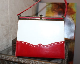 Vintage Naturalizer Vegan Patent Leather Handbag, From the 60's. Awesome Red and Cream Colors.