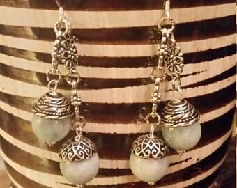 Handmade Beaded Blue Aquamarine Earings