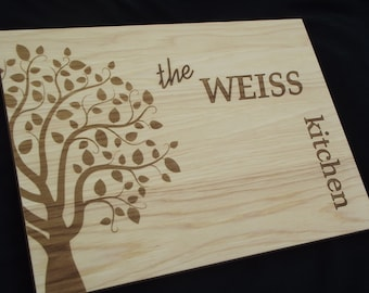 10x13 Cutting Board-FAMILY KITCHEN personalized .  HICKORY Perfect gift for parents, grandparents, weddings and Christmas  Ships Fast!