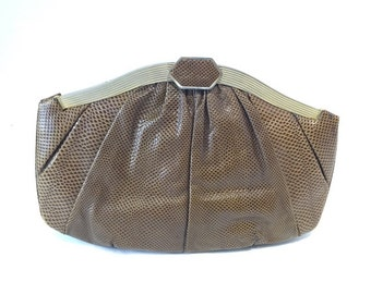 JUDITH LIEBER Brown Karung Gecko Skin 2 way bag