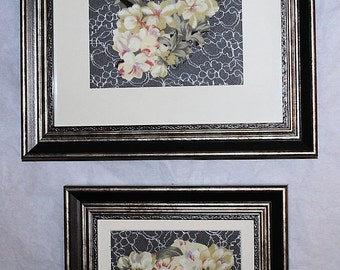 Set of Fabric Hydrangea Flower Vintage Look Mixed Media Framed Art Wall Decor