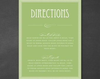 Customizable Typography Art Deco Wedding Directions Card or Info Card {DIGITAL DOWNLOAD}