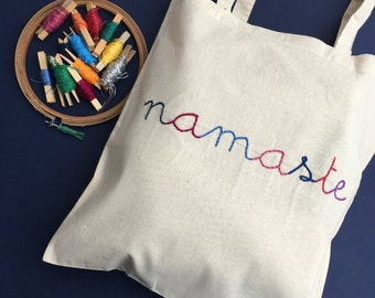 """Tote - bag """"Namaste"""" / / hand embroidery / / bag for travel in India / / travel bag / / tote bag / / thick cotton bag / / shopping bag"""