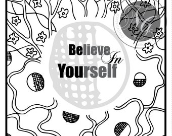 Be You - Believe in Yourself - Handmade Ink Drawing Greeting Card