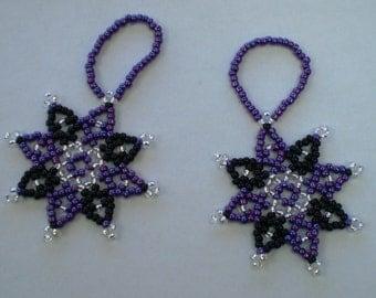 2 Beaded Stars - Purple & Black