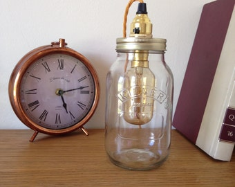 Retro Kilner Mason Jar Table Lamp with vintage wire cage bulb