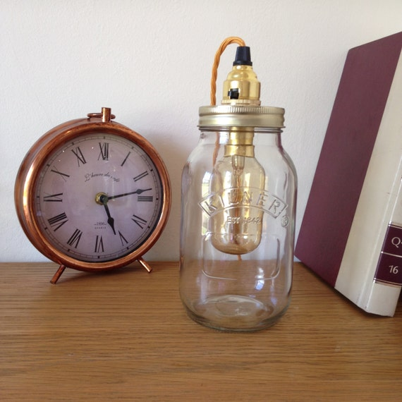 Lampe de Table de rétro Kilner Mason Jar avec ampoule de cage métallique vintage