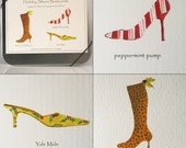 Holiday Shoes Note Cards -- Cd tin -- Humor