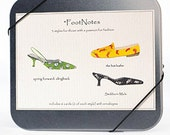 Shoe Cards with witty puns -- Foot Notes -- Cd tin