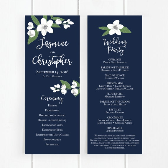 printable wedding program template floral ceremony program white flowers floral navy blue. Black Bedroom Furniture Sets. Home Design Ideas