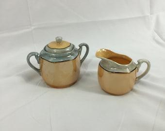 Japanese Cream and sugar Lusterware set- Hand painted ceramics