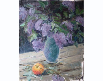Lilacs in vase oil painting by Elena Rykoff