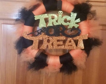 Black & Orange Halloween Wreath