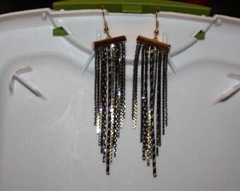Black & Gold Chain Earrings