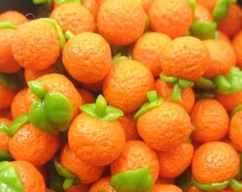 Lot 10 Oranges Fruit DollsHouse Miniature Food Supply Art Deco Charms - 3918