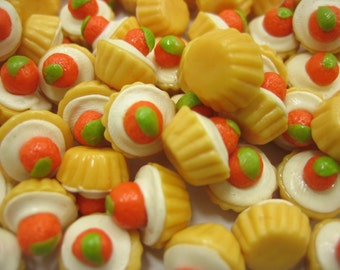 Dollhouse Miniature Food Lot 20 Loose Fruit Cupcake Orange Topping Supply Art Deco Charms - 6540