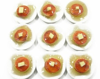 9 Pancakes with syrup Dessert on Ceramic Plate Dolls House Miniature Food Supply Deco Charms  - 4442