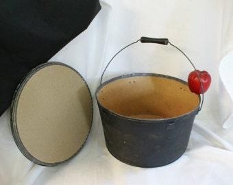 Round Black bucket, Rustic Bucket, Fiber Bucket, Black Pail, Rusty bucket, Cabin Decor, Black Decor, Rustic Wedding Decor