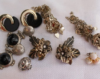 Vintage Bulk Earrings, Clip On Upcycle Earrings, Destash Lot Costume Jewelry, Recycle Jewelry Supply