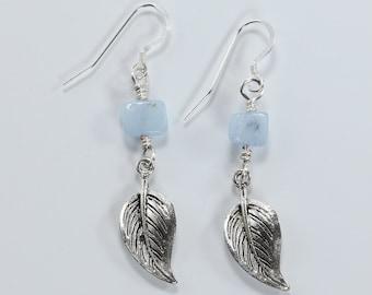 Aquamarine Gemstone & Sterling Silver Earrings, Pewter and Aquamarine Earrings, Blue and Silver Earrings