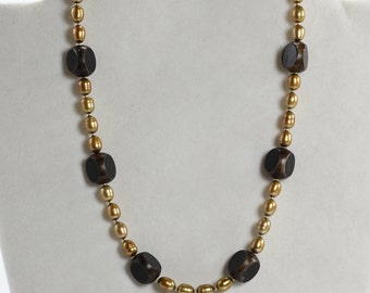Freshwater Pearl and Wood Necklace, Gold & Brown Necklace