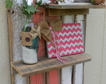 Pink Trinket Shelf/Reclaimed Wood