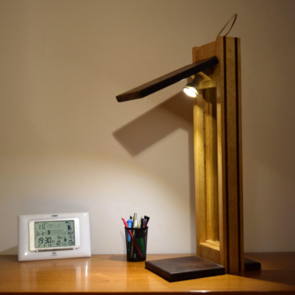 lampe de bureau design luxe bois massif clairage led