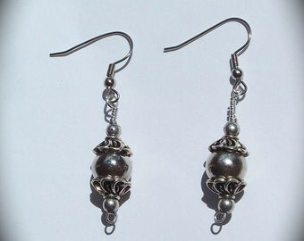 Silver Wire Wrapped Romantic Dangle and Ball Drop Earrings