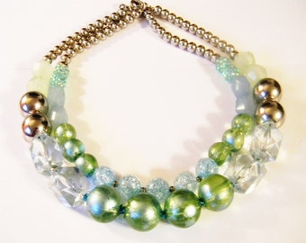 Bead Necklace, Mint Green and Silver Tone Double Strand