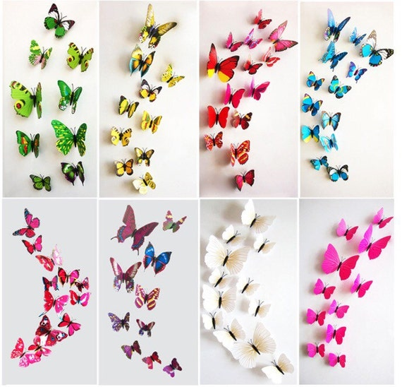 12 pcs lot 3d butterfly wall stickers decals home decor poster. Black Bedroom Furniture Sets. Home Design Ideas