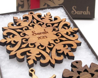 Custom Snowflake Christmas Ornament Gift Box - Nestled Pines Woodworking