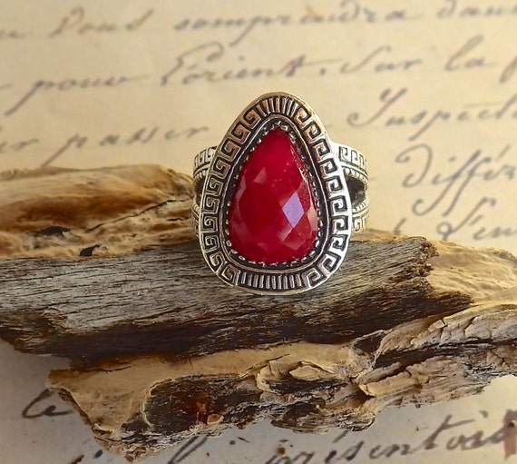 Seductive Faceted Ruby Ring ~ Teardrop Natural Ruby ~ Sterling Silver ~ Genuine Faceted Ruby ~ Set in 925 Silver ~ July Birthstone