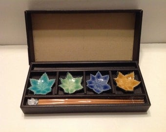 Japanese Small/Wasabi Dishes with Chopstick Set of 4