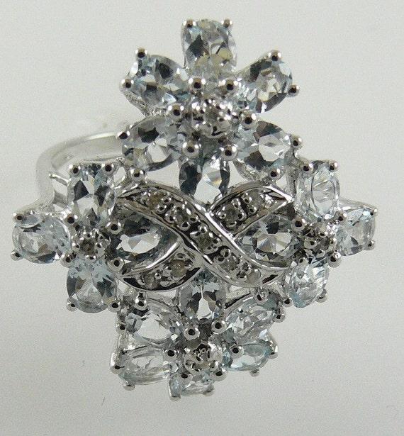 Aquamarine 2.75ct Ring 14k White Gold and Diamonds 0.08ct